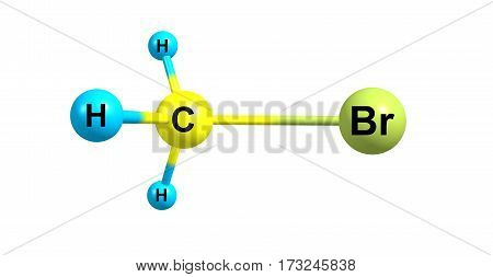 Bromomethane or methyl bromide is an organobromine compound with formula CH3Br. It is colorless odorless nonflammable gas. 3d illustration