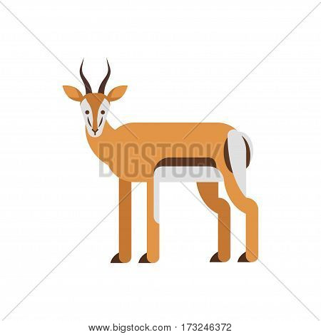 Vector flat style illustration of antelope. Icon for web. Isolated on white background.