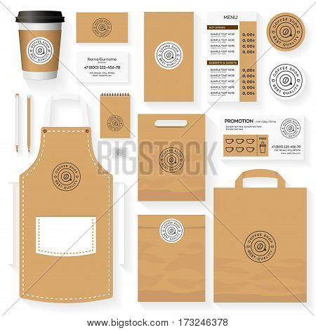 Coffee shop corporate identity template design set with coffee shop logo and coffee bean. Restaurant cafe set card, flyer, menu, package, uniform design set. Stock vector