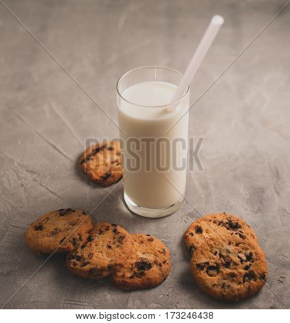 glass of milk and cookies with chocolate on a gray concrete background