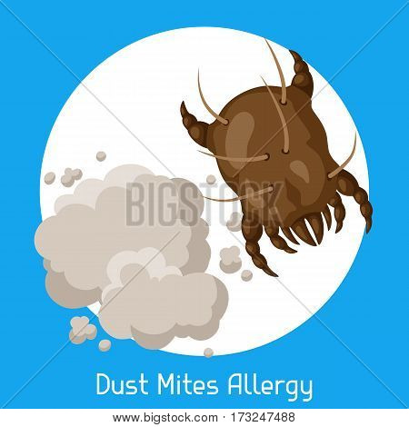 Dust mites allergy. Vector illustration for medical websites advertising medications.