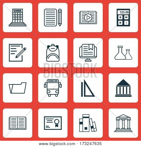 Set Of 16 School Icons. Includes Haversack, Academy, Measurement And Other Symbols. Beautiful Design Elements.