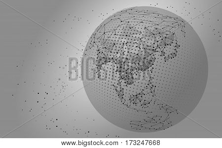 World map point, line, composition, representing the global, Global network connection, international meaning. vector illustration China, India Japan