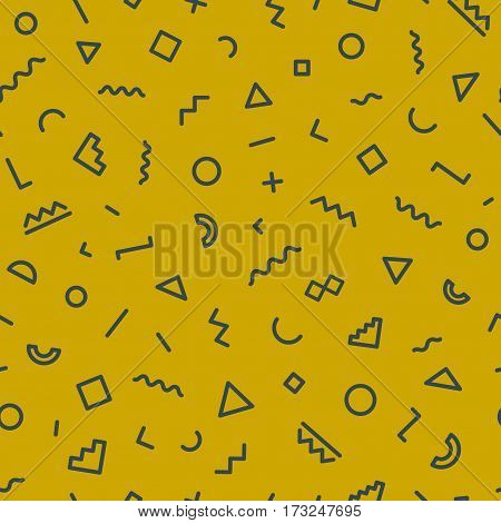 Memphis seamless pattern on gold background. Hipster memphis style. Trendy memphis style. Geometric seamless pattern different shapes black color. Vector Illustration
