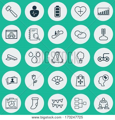 Set Of 25 Universal Editable Icons. Can Be Used For Web, Mobile And App Design. Includes Elements Such As Human Mind, Moving Staircase, Trading And More.