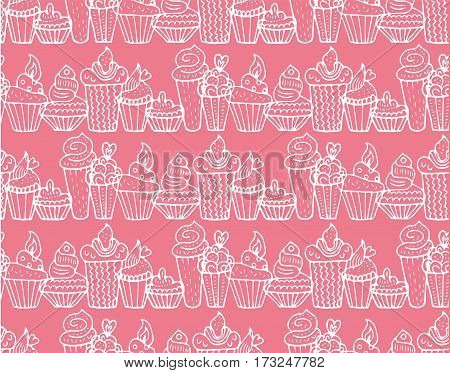 Hand drawn cupcakes seamless pattern in vector. Cake background. Cake dessert. Cake vector. Cake handwritten sketch.