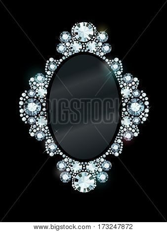 Vector mirror frame made of gems on black