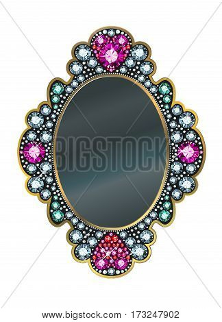 Vector Mirror frame made of gems on white