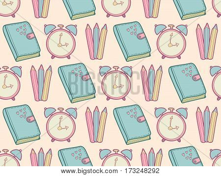 Vector cute school seamless pattern with diary, alarm clock, colored pencils