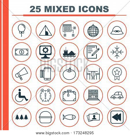 Set Of 25 Universal Editable Icons. Can Be Used For Web, Mobile And App Design. Includes Elements Such As Bullhorn, Radish, Accessibility And More.