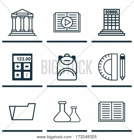 Set Of 9 School Icons. Includes Electronic Tool, College, Document Case And Other Symbols. Beautiful Design Elements.