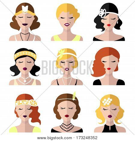 Vector set of different flapper girls icons in modern flat style
