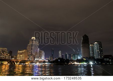 Bangkok City view of the Skyline at night with lights in Thailand