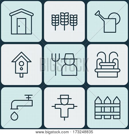 Set Of 9 Gardening Icons. Includes Water Monument, Barrier, Birdhouse And Other Symbols. Beautiful Design Elements.