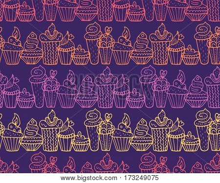 Hand drawn cupcakes seamless pattern in vector. Cake background. Cake dessert. Cake vector. Cake handwritten sketch