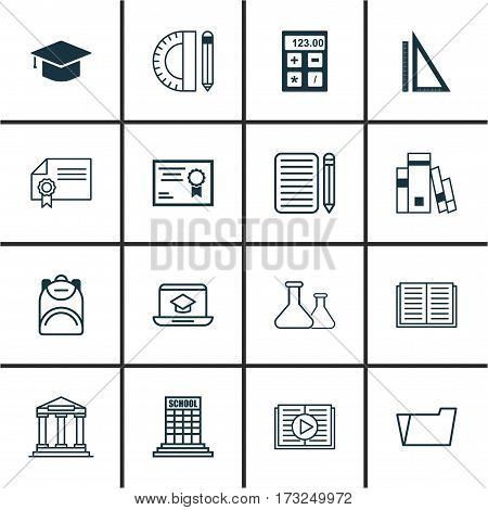 Set Of 16 School Icons. Includes Measurement, Academy, Haversack And Other Symbols. Beautiful Design Elements.