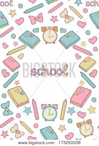Vector cute school seamless pattern frame with diary, alarm clock, colored pencils, bow, heart, star and text school. Can be used for album cover, school notebook cover, school diary