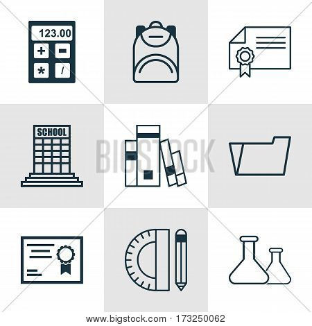 Set Of 9 Education Icons. Includes Document Case, Education Tools, Haversack And Other Symbols. Beautiful Design Elements.