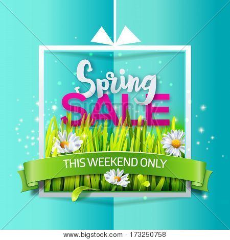 Spring sale card with grass and flowers in frame with green ribbon on sky blue paper background. Business banner with season offer. Vector illustration for spring sales, banners. Origami