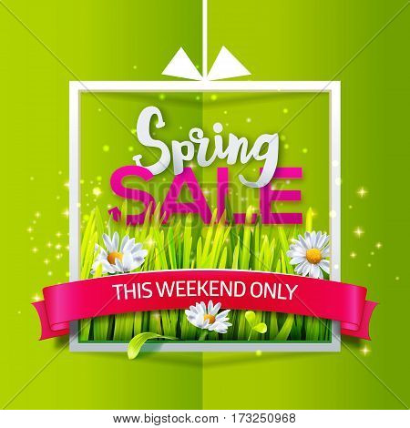 Spring sale card with green grass and flowers in frame with red ribbon on green paper background. Business banner with season offer. Vector illustration for spring sales, banners. Origami