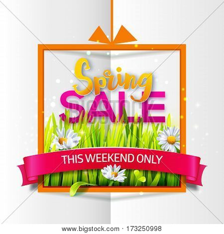 Spring sale orange frame with green grass and flowers with red ribbon on paper background. Business banner with season offer. Vector illustration for spring sales, banners. Origami