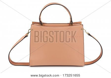 Woman's beige hand bag with shadow, isolated on white