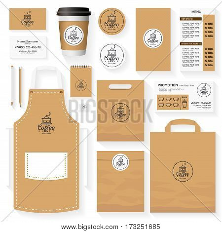 Coffee shop identity template design set with coffee shop logo and coffee machine. Restaurant cafe set card, flyer, menu, package, uniform design set. Stock vector