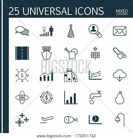 Set Of 25 Universal Editable Icons. Can Be Used For Web, Mobile And App Design. Includes Elements Such As Scale Line Chart, Sun Power, Open Vacancy And More.