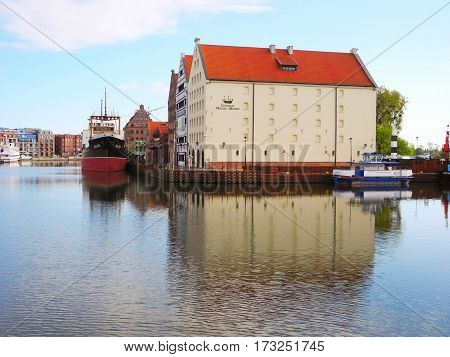 Gdansk Poland - 8 May 2015: The building of the Central Maritime Museum is located on the river Motlava.