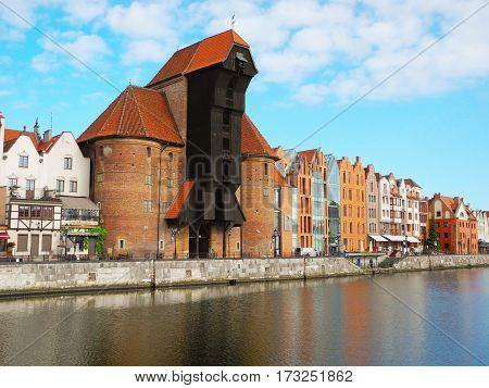 Gdansk Poland - 8 May 2015: Crane Museum is located on the Motlawa River promenade.