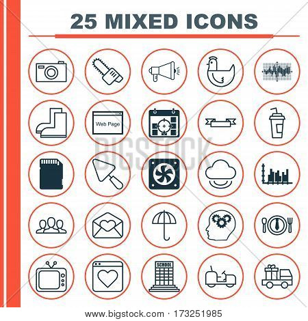 Set Of 25 Universal Editable Icons. Can Be Used For Web, Mobile And App Design. Includes Elements Such As Drink Cup, Society, Agrimotor And More.