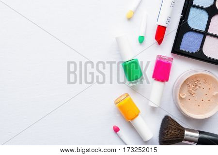 Set Of Makeup On A White Background With Space For Text