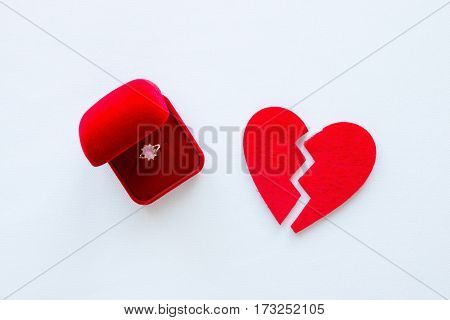 Broken Heart And A Wedding Ring On A White Background