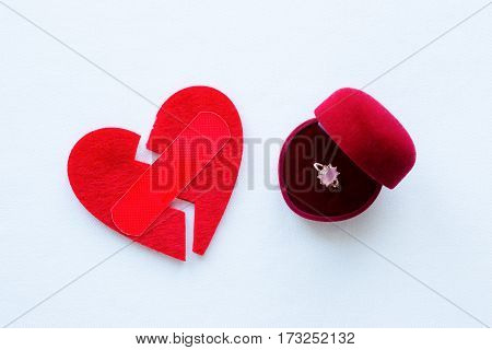 Broken Heart With A Patch And A Wedding Ring