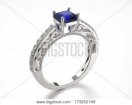 3D illustration silver ring with diamonds and sapphire on a white background