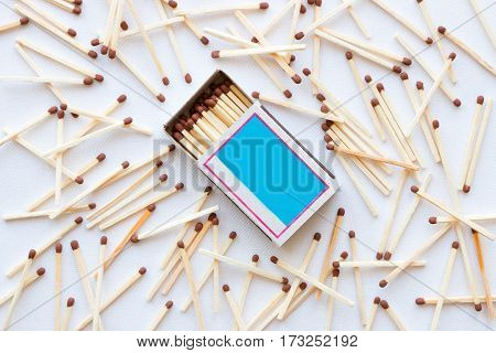 Matchbox And Matches Scattered On A White Background