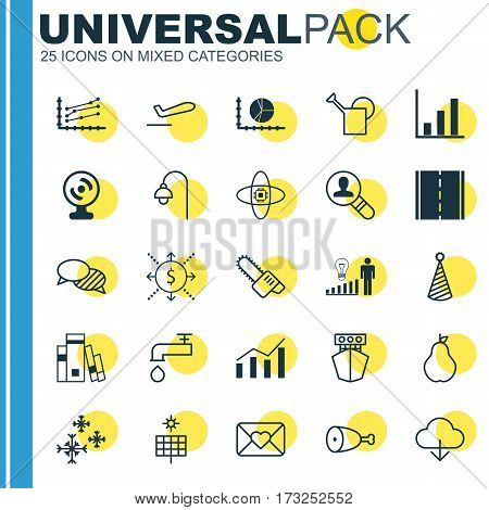 Set Of 25 Universal Editable Icons. Can Be Used For Web, Mobile And App Design. Includes Elements Such As Save Data, Celebration Letter, Scale Line Chart And More.