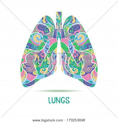 Colored Hand drawn sketched lungs. Abstract human lungs. Vector illustration.