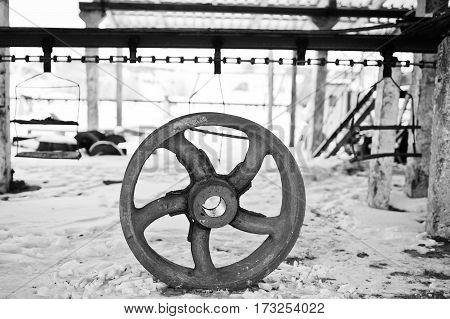 Iron Steel Wheel Of Motors Old Soviet Industrial Equipment.
