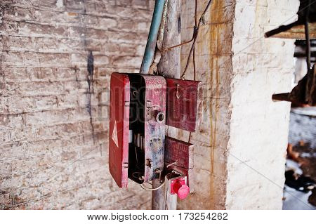 Powerful Electrical Shield, Old Switchboard Of Soviet Industrial Equipment.