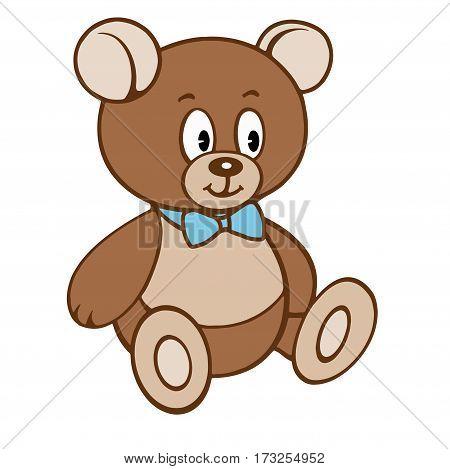 Cute cartoon teddy boy bear. Vector illustration isolated on white