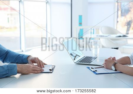 Job applicant having interview in office, closeup