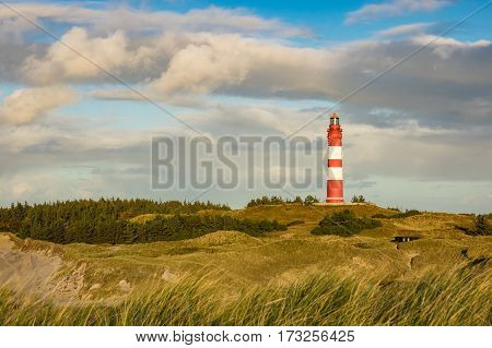 Lighthouse in Wittduen on the island Amrum Germany.