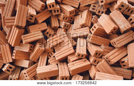 Bricks for construction and background outdoor photo