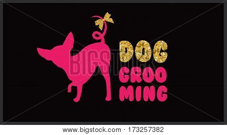 Pink dog silhouette with gold bow and gold letters. Logo for dog hair salon. Dog beauty salon. Pet grooming salon