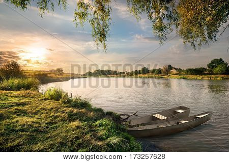 The river in the countryside in late summer