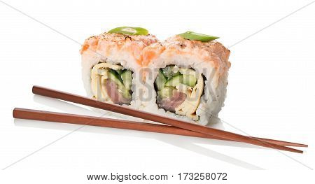 Sushi and rolls isolated on a white background