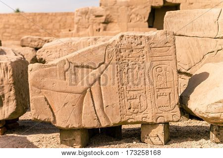 Ancient ruins of Karnak temple in Egypt at noon.