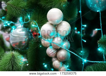 Beautiful decorations on Christmas tree