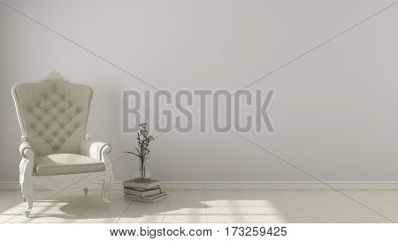 Classic Living Background, With White Vintage Armchair On Herringbone Natural Parquet Flooring, Inte